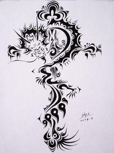 Sacrificial cross dragon by CodenameParanormal on DeviantArt Tattoo Templates, Tribal Art, Tribal Tattoos, Body Art, Illustration Art, Dragon, Deviantart, Crosses, Ideas