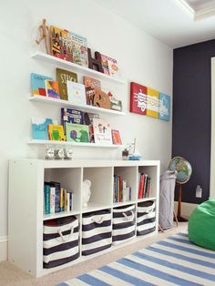 Organize kids playroom and reading corner