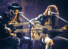 "Richie Sambora and Jon Bon Jovi doing the first ""Unplugged"" concert on MTV. 1990"