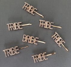 Our new bride and tribe bobby pins are a cool accessory for your hen party or bridal party.