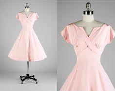 Vintage 1950s Dress . Pink Cotton Faille . Doris Dodson . S/M . 1568