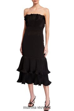 Don this strapless dress for a more formal wedding. It's a timeless little black dress with an elevated twist thanks to its flouncy him. #weddingideas #wedding #marthstewartwedding #weddingplanning #weddingchecklist Summer Wedding Guests, Formal Wedding, Wedding Attire, Plunge Dress, Types Of Fashion Styles, Dress Making, Strapless Dress, Weddingideas, Formal Dresses