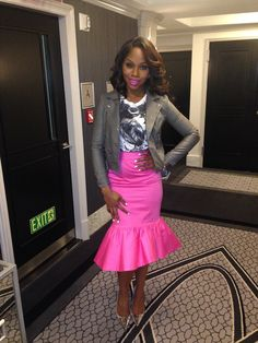 Sarah Jakes Hot Fashion & Beauty Pic Hair by: Chris Curse Sponsor by Shea Luxe Stylist: J Bolin 2014 Spring Fashion Pink Mermaid Skirt