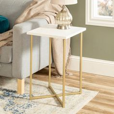 16 inch Square Side Table with White Faux Marble Top and Gold Legs - White Barn Door Tables, Barn Doors, Contemporary Side Tables, Square Side Table, Living Room Accents, Furniture, Tv Remotes, Home Decor, Industrial Furniture