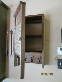 Cabinet using old washboard.