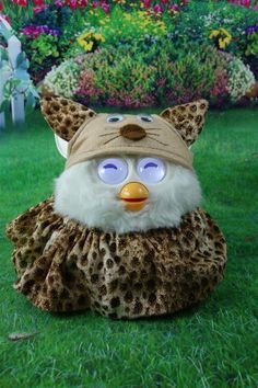 Handmade Fun costume outfit for Furby. The little guy seems very happy to wear it lol