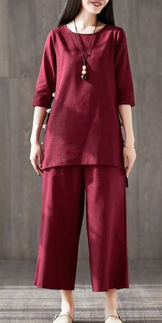 French red cotton clothes For Women Fitted linen wide leg pants two pieces Maxi o neck Chinese Button tops Night Suit For Women, Pants For Women, Clothes For Women, Pakistani Fashion Casual, Pakistani Dresses Casual, Stylish Dresses For Girls, Stylish Dress Designs, Wide Leg Linen Pants, Simple Shirts