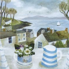 Canns Down Press Card 'Cornish Jug, Garden Flowers' by Sarah Bowman Art And Illustration, Illustrations, Seaside Art, Art Pictures, Photos, Naive Art, Art Graphique, Painting Inspiration, Painting & Drawing