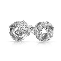Gold Rope Knot Stud Earrings | cz twisted love knot silver stud earrings 479563956 jewelry jewelry ...