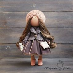 Hand made Art doll, brown color, peach, Collectable, House doll, Home, Decor doll, Baby doll, unique magic doll by Master Margarita Hilko