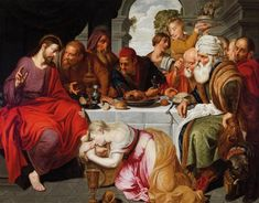 View Mary Magdalene Anointing Christ's Feet in the House of Simon the Pharisee By Artus Wolfaerts; oil on canvas; 159 x cm; Access more artwork lots and estimated & realized auction prices on MutualArt. Santa Maria, Alabaster Jar, Bible Pictures, Mary Magdalene, Last Supper, Classical Art, Sacramento, Aesthetic Art, Beautiful Images