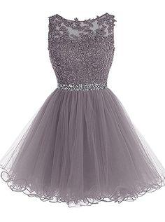 MicBridal® Kurz Spitzen und Tüll Rund-Ausschnitt Rückenlos Kleid Ballkleid mit Strass Grau 38