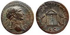 Ancient Coins - Trajan AE as. Rome 98-117. Octastyle temple of Jupiter Victor. Scarce