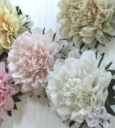 LUCKY PEONY. 5 Giant Tissue Paper Flowers wedding by whimsypie