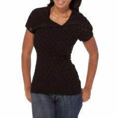 Open Collar Short Sleeve Sweater