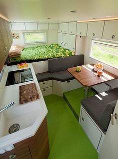Interior of the Mercedes motorhome from Orangework.de would look good in a horsebox