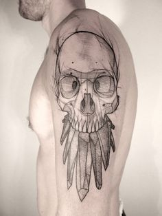 Black Geometric Skull Tat