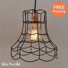Industrial-Lampshade-Light-Lamp-Shade-Frame-Fitting-Cage-Bulb-Wire-Vintage-Retro