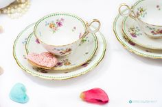 Absolutely Beautiful Antique Floral & Green Avon shape teacup Trio Set by Bisto England c.1900. Partially hand painted English Bone china by FlyingSquirrelNest on Etsy