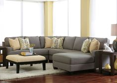 Jennifer Convertibles: Sofas, Sofa Beds, Bedrooms, Dining Rooms & More! Chamberly Alloy Right Arm Facing Chaise End Sectional