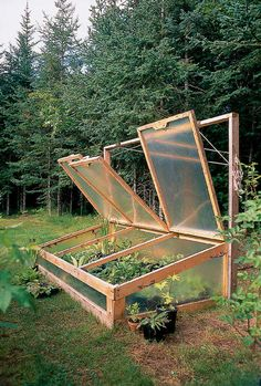 Cold Frames are another type of Short Structure - they serve the same purpose as Row Covers (Low Tunnels) but they have a sturdier structure that is built from wood or metal. Because of the sturdier frame you can use heavier coverings such as double-wall polycarbonate sheeting or salvaged windows (green house plastic or spun-bonded polyester) also work. Try to find plastic or tempered glass windows *Old Glass panes can break & leave shards in the soil. The advantage of cold frames is that they a