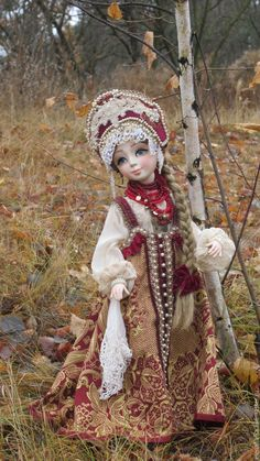Варвара-краса, длинная коса)) - бордовый, русский стиль, русский народный костюм