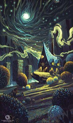 ArtStation - Athelthryth's Workshop of Spells, Andrea Koroveshi During the girl's five-decade employment, artist Viola Art Inspo, Kunst Inspo, Inspiration Art, Art And Illustration, Illustrations, Fantasy Kunst, Fantasy Landscape, Fantasy World, Oeuvre D'art