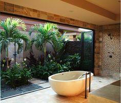 Garden houses Open Space Close To Garden Tropical Bathroom Bathub Amazing Traditional Balinese Garden Design House Scheme Photos Garden Bathroom, Zen Bathroom, Modern Bathroom, Bathroom Ideas, Bathroom Designs, Bathroom Trends, Bathtub Designs, Jungle Bathroom, Garden Tub