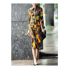 SheIn(sheinside) Multicolor Lapel Pockets Graffiti Print Sheath Dress (245 ILS) ❤ liked on Polyvore featuring dresses, multicolor, multi color maxi dress, pattern dress, long sheath dress, print dress and sheath dress