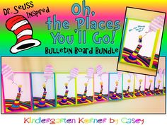 INTRO SALE PRICE on this AMAZING Dr. Seuss Inspired Oh, the Places You'll Go Bulletin Board Bundle - perfect for Dr. Seuss' birthday, Read Across America, or Graduation! Colorful craft and differentiated writing balloon templates for students in Kindergarten, first, or second grade!