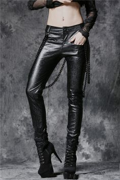 Dark In Love Gothic Trousers, Goth Punk Embossed Leather Effect Pants with Detachable Chains - Click to enlarge