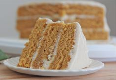 """Made from scratch, moist, fluffy pumpkin spice cake recipe with cinnamon cream chee..."