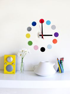 Restickable wall clock. 'dots' design - custom colours.