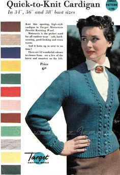 Subversive Lesbian Anarchic Femme!: Target 'Quick-to-Knit' Cardigan, with shade card. c. 1950s