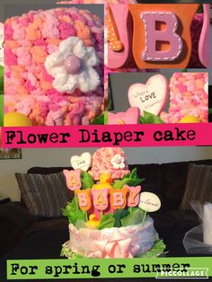 3 layer diaper cake for spring or summer #crafty conjuring#diaper cake ideas