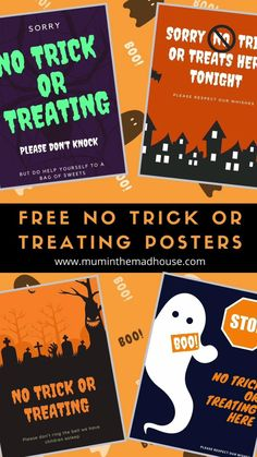 Free No Trick Or Treaters Signs To Print Video Video Halloween Crafts Trick Or Treater Clay Christmas Decorations