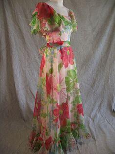 Vtg 60s does 30s Superb Floral Ruffled Organza Full Length Maxi Dress M L