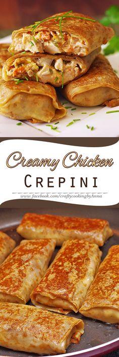 Creamy Chicken Crepini! #Delicious #Breakfast #Lunch #Snack #Portable #Crepes #Nalesniki #Nalistniki Iftar, Ramadan Recipes, Eid Recipes, Recipes Dinner, Vegan Recipes, Crepes Party, Eid Food, Tandoori Masala, Savory Crepes