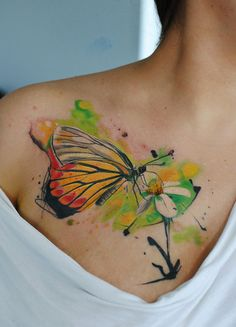 watercolor flower with butterfly tattoo - 50 Butterfly tattoos with flowers for women <3