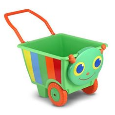 """This sturdy, generously sized and brightly colored plastic cart has a handle and wheels for """"loads"""" of indoor or outdoor fun! Whether your child wants to fill it with blocks, take favorite stuffed ani"""