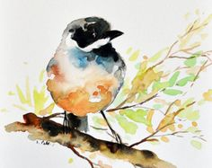 ORIGINAL Watercolor Painting, Sparrow Bird Illustration, Colorful Floral Art 6x8 Inch