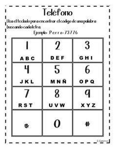 Word work-telephone (spanish)