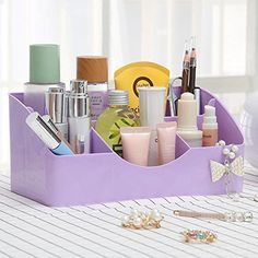 XUEXIN Desktop storage box stationery cosmetics small items finishing boxes  violet -- Want to know more, click on the image.