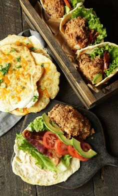 Gorgeous Fried Chicken and Cheddar Scallion Naan Bread Sandwiches from @ChefBillyParisi