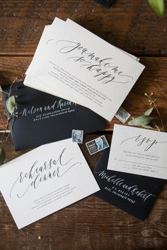 Written Word Calligraphy   Design | Vancouver Calligrapher | Modern Romantic Wedding Calligraphy | Monochromatic Calligraphy Wedding Invitations | http://writtenwordcalligraphy.com