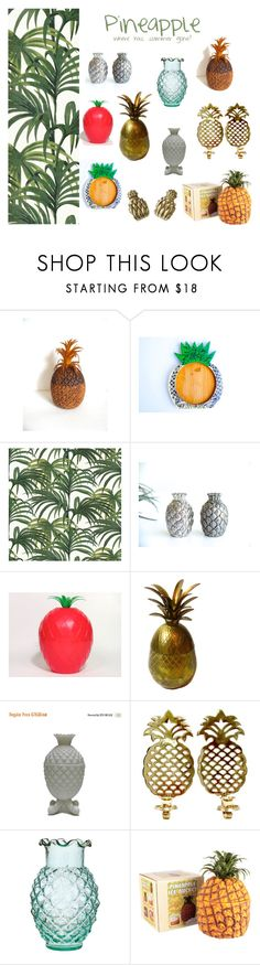 """PINEAPPLE where has summer gone?"" by la-baronne-vintage ❤ liked on Polyvore featuring interior, interiors, interior design, home, home decor, interior decorating, vintage, pineapple, Exotic and vintagefr"