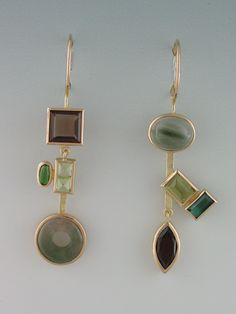 earrings - 18kt yellow gold, smokey quartz, peridot, tourmaline, moss by Janis Kerman Design