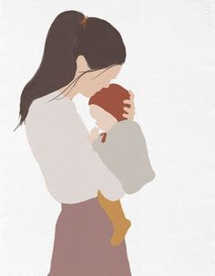 Mother And Son Discover Conscious Gifts for Cool Families Motherhood baby (blonde or brown hair) Family Illustration, Portrait Illustration, Woman Illustration, Friends Illustration, Mothers Day Drawings, Mother Art, Baby Art, Aesthetic Art, Minimalist Art