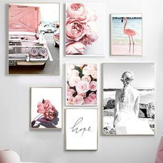 """""""Pink Rose Flamingo Flower Vintage Car Wall Art Canvas Painting Nordic Posters And Prints Wall Pictures For Living Room Decor"""" Car Wall Art, Office Wall Art, Living Room Pictures, Wall Art Pictures, Flamingo Art, Flamingo Flower, Canvas Art Prints, Canvas Wall Art, Vintage Wall Art"""