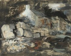 ✦ john piper - 'house with stone wall' - gouache and watercolour